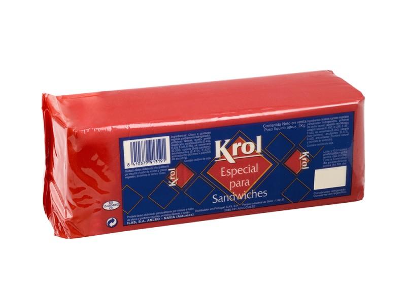 Bloco de queijo Krol 3kg para ssndwich