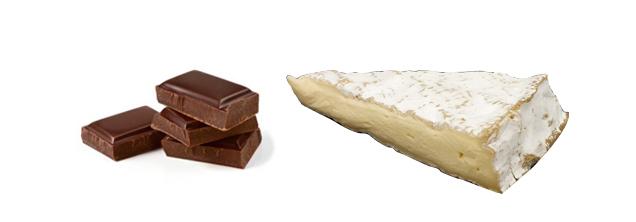 Maridaje del queso con chocolate. Queso Brie con chocolate