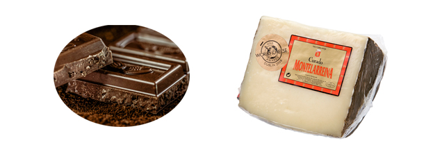 Maridaje del queso con chocolate. Queso Montelarreina con chocolate puro