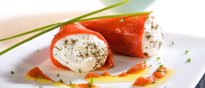 Recetas sanas y fáciles. Pimientos del piquillo con queso crema de untar Reny Picot