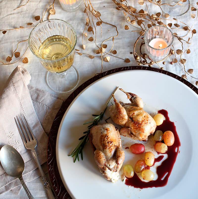 menu de navidad Codornices rellenas de queso Reny Picot