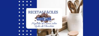 Hojaldre de crema sobre lecho de chocolate Reny Picot